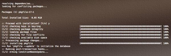 Установка pkgfile в Arch Linux
