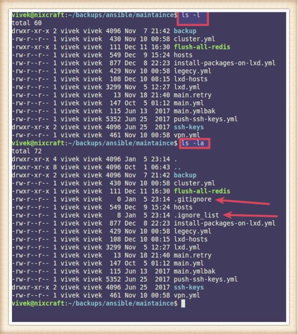как посмотреть скрытые файлы linux